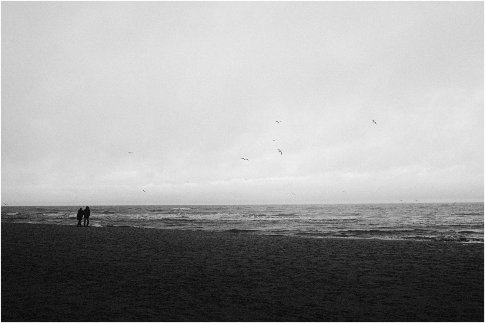 Ania & Szczepan | sesja nad morzem (b&w) 1