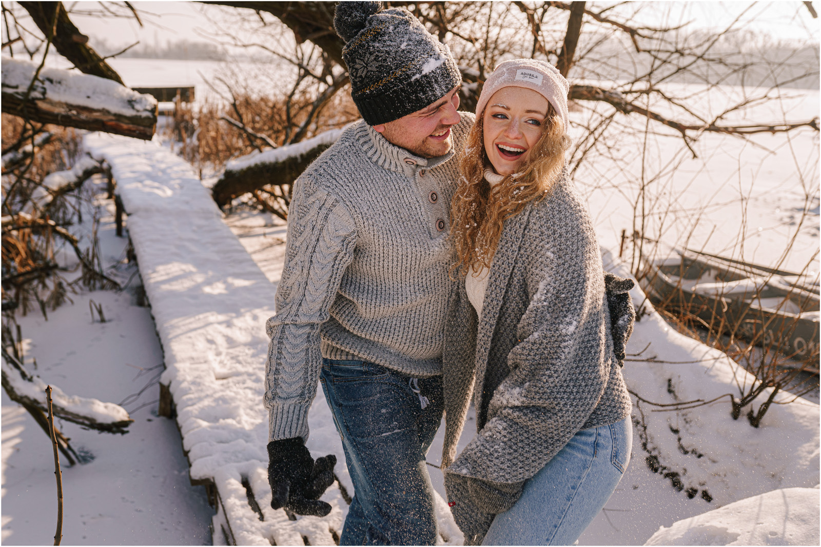 Paulina & Bartek | zimowa sesja nad jeziorem 31