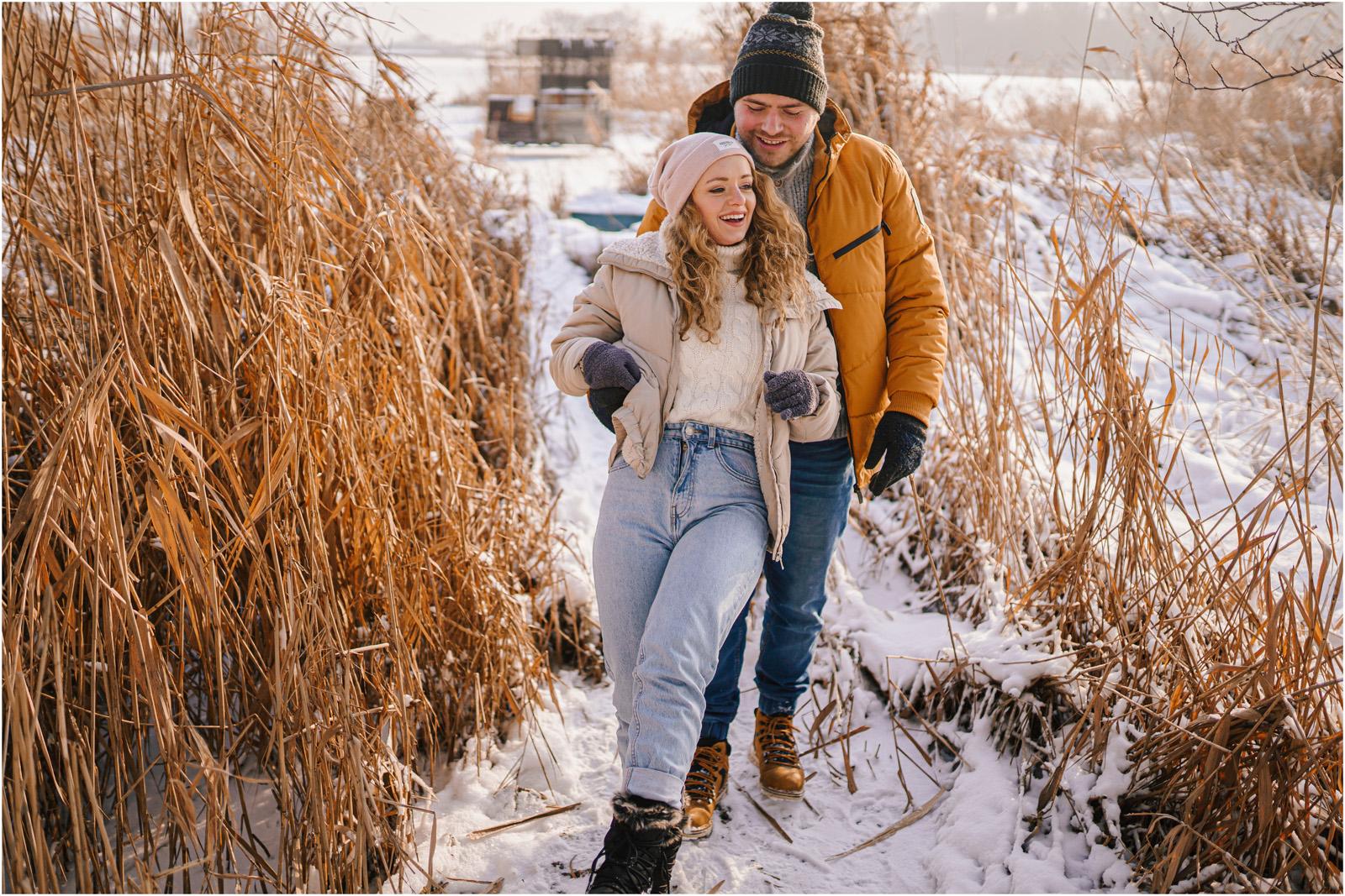 Paulina & Bartek | zimowa sesja nad jeziorem 15