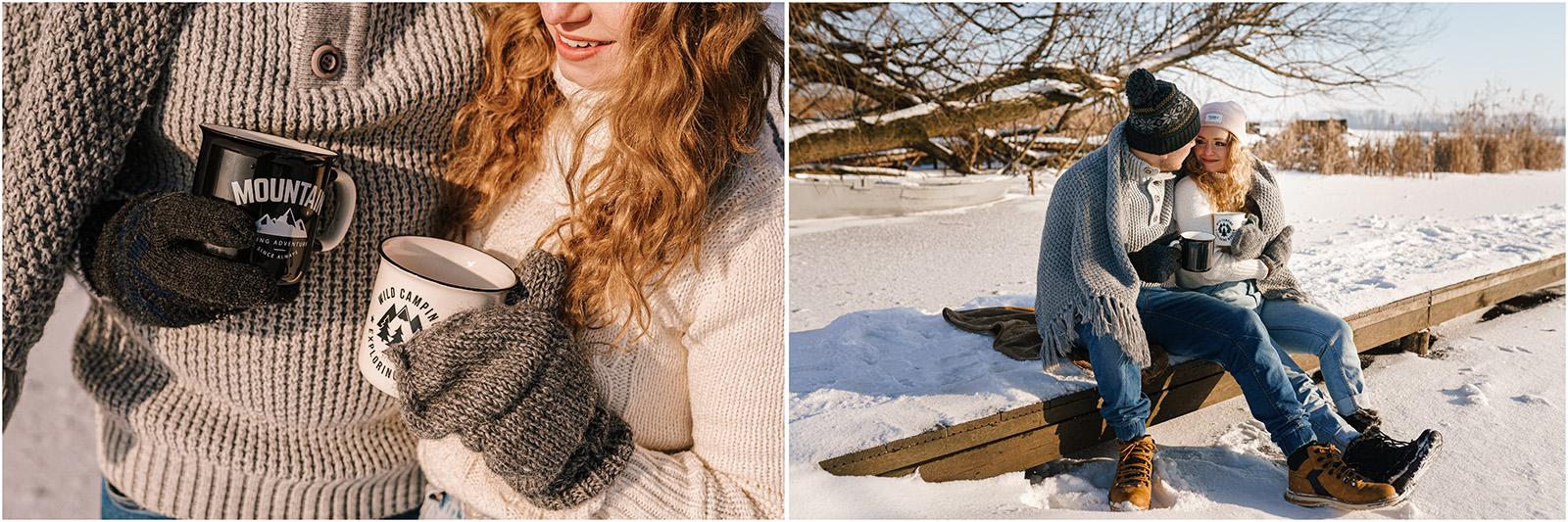 Paulina & Bartek | zimowa sesja nad jeziorem 25
